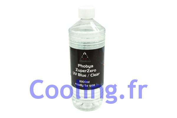 liquide de protection zuperzero 1 litre transparent bleu r actif aux uv phobya watercooling. Black Bedroom Furniture Sets. Home Design Ideas